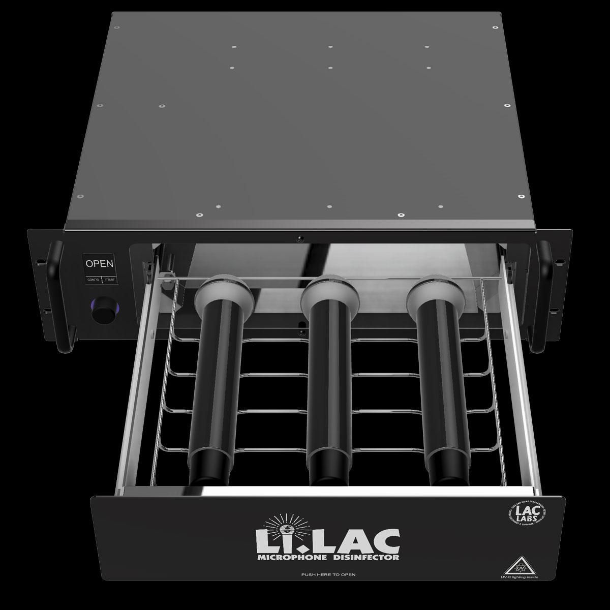 LiLac leicht von oben geöffnet mit 3 Mikrofone